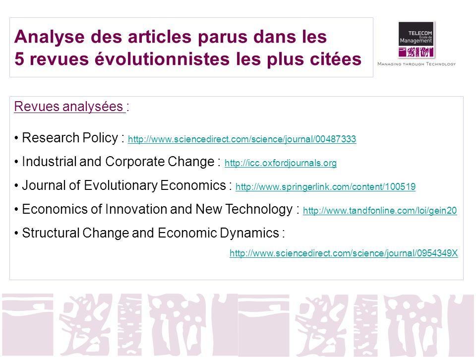 Analyse des articles parus dans les 5 revues évolutionnistes les plus citées