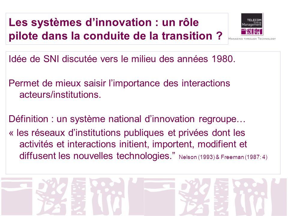 Les systèmes d'innovation : un rôle pilote dans la conduite de la transition