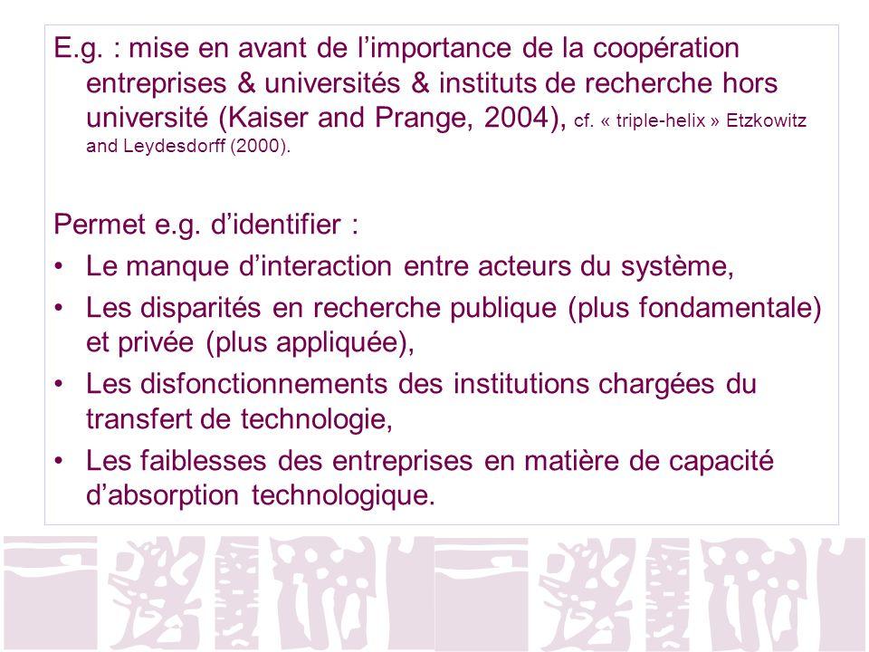 E.g. : mise en avant de l'importance de la coopération entreprises & universités & instituts de recherche hors université (Kaiser and Prange, 2004), cf. « triple-helix » Etzkowitz and Leydesdorff (2000).