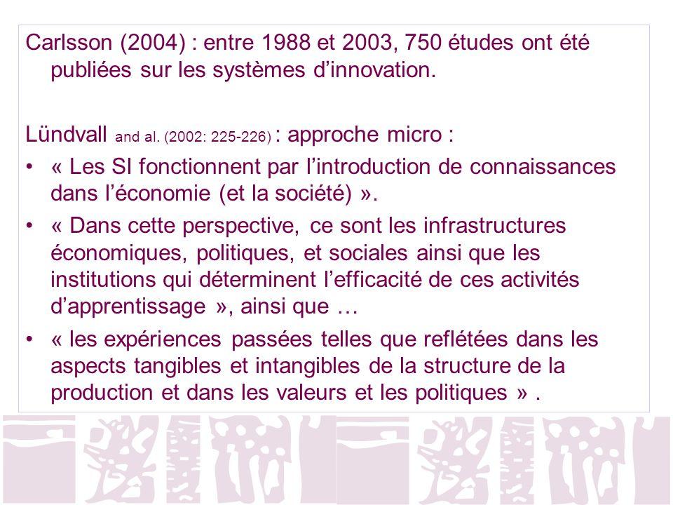 Lündvall and al. (2002: 225-226) : approche micro :