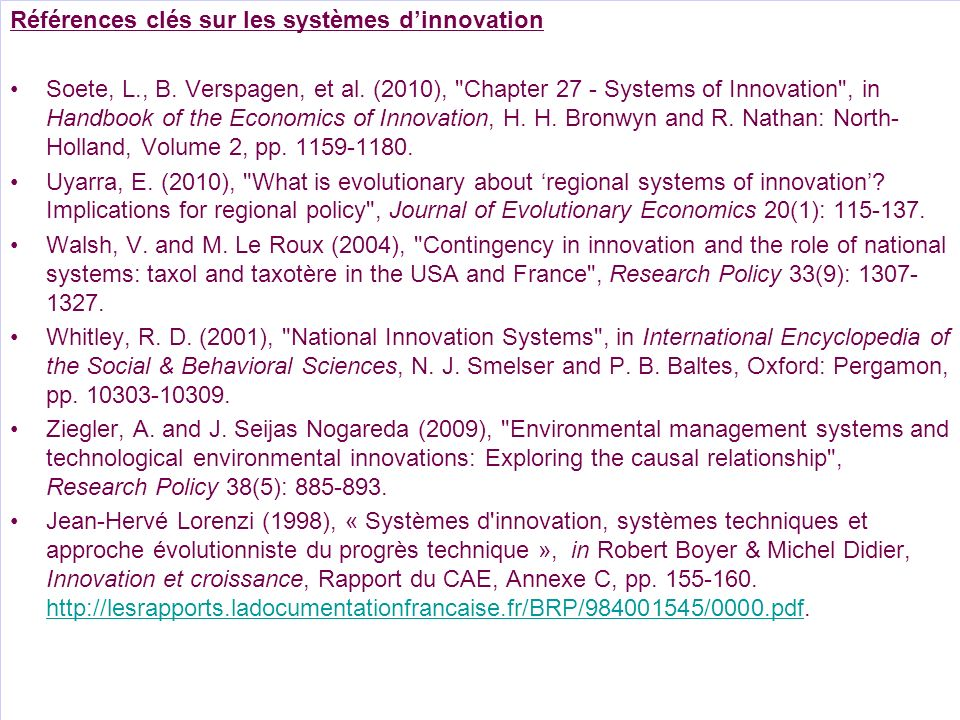 Références clés sur les systèmes d'innovation