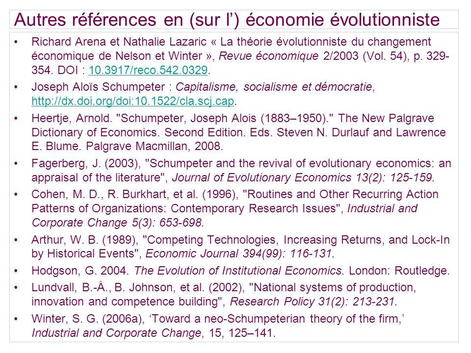 Autres références en (sur l') économie évolutionniste