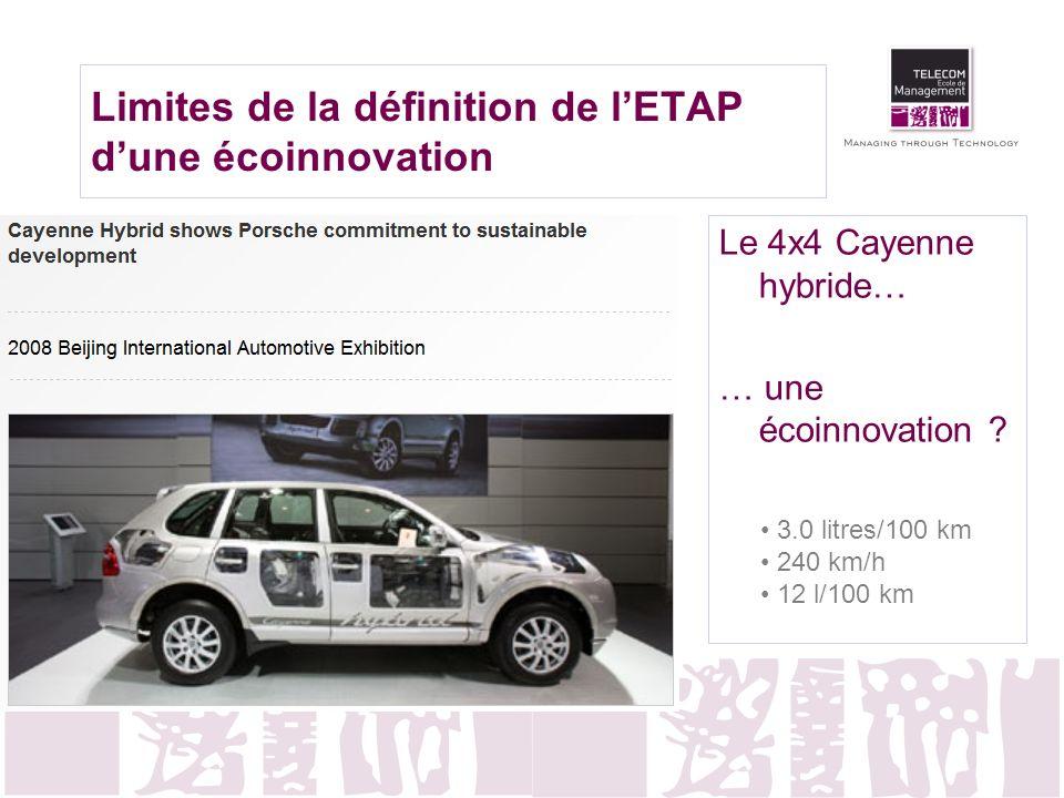 Limites de la définition de l'ETAP d'une écoinnovation