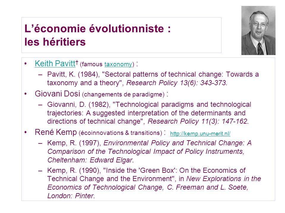 L'économie évolutionniste : les héritiers