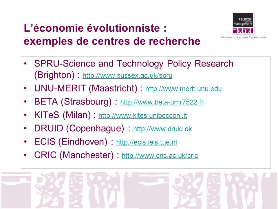 L'économie évolutionniste : exemples de centres de recherche