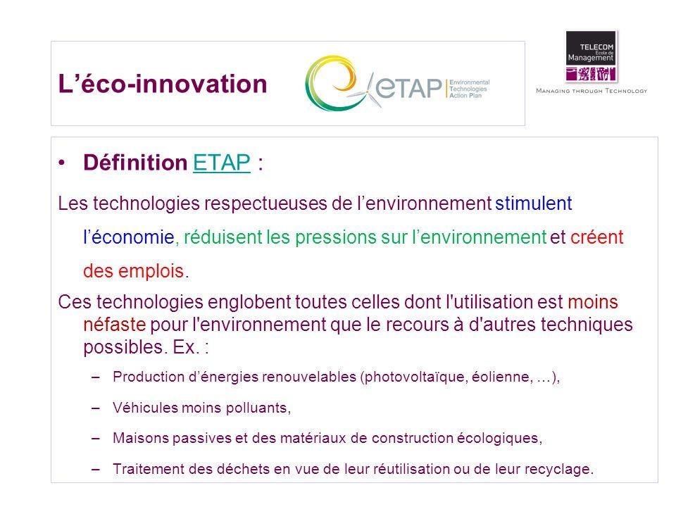 L'éco-innovation Définition ETAP :
