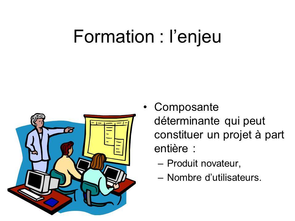 Formation : l'enjeu Composante déterminante qui peut constituer un projet à part entière : Produit novateur,