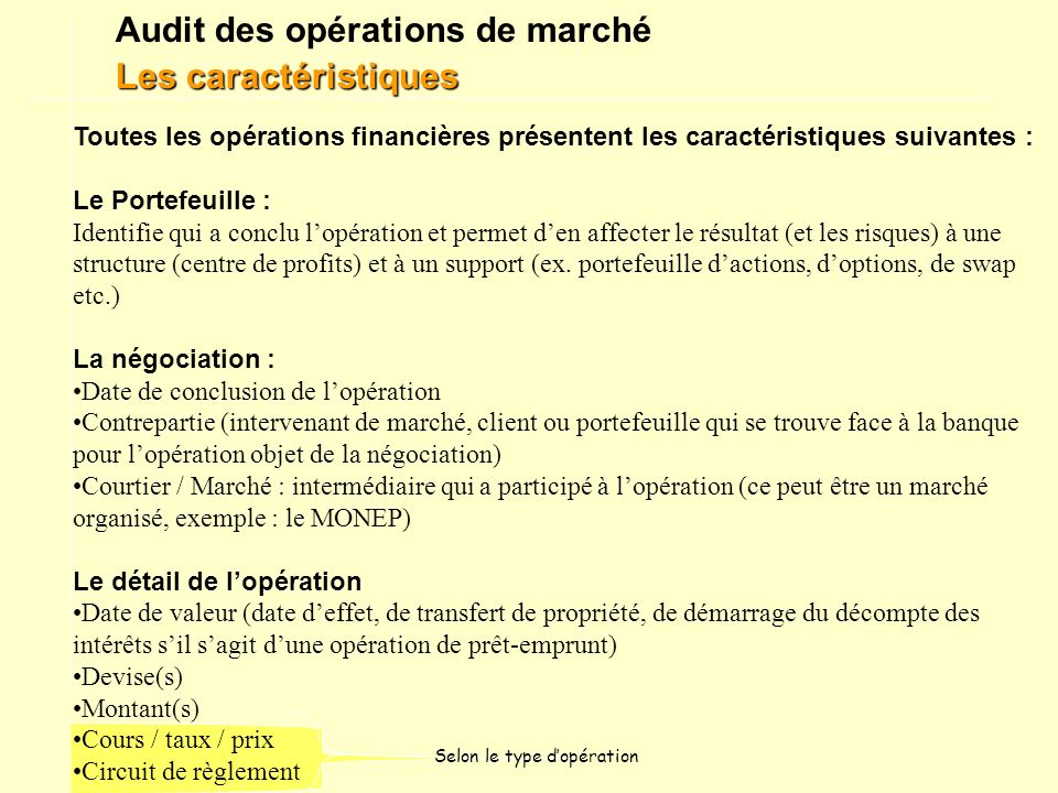 Audit des opérations de marché Les caractéristiques