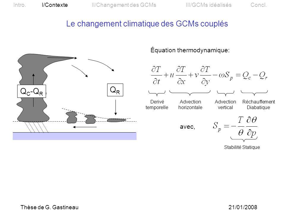 Le changement climatique des GCMs couplés