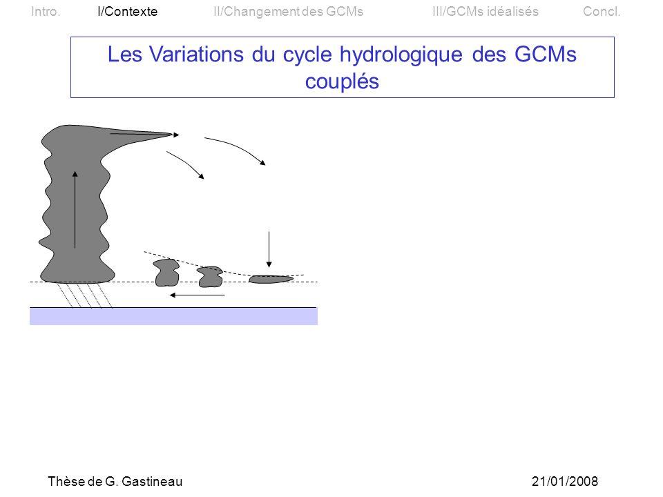 Les Variations du cycle hydrologique des GCMs couplés
