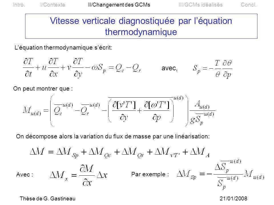 Vitesse verticale diagnostiquée par l'équation thermodynamique