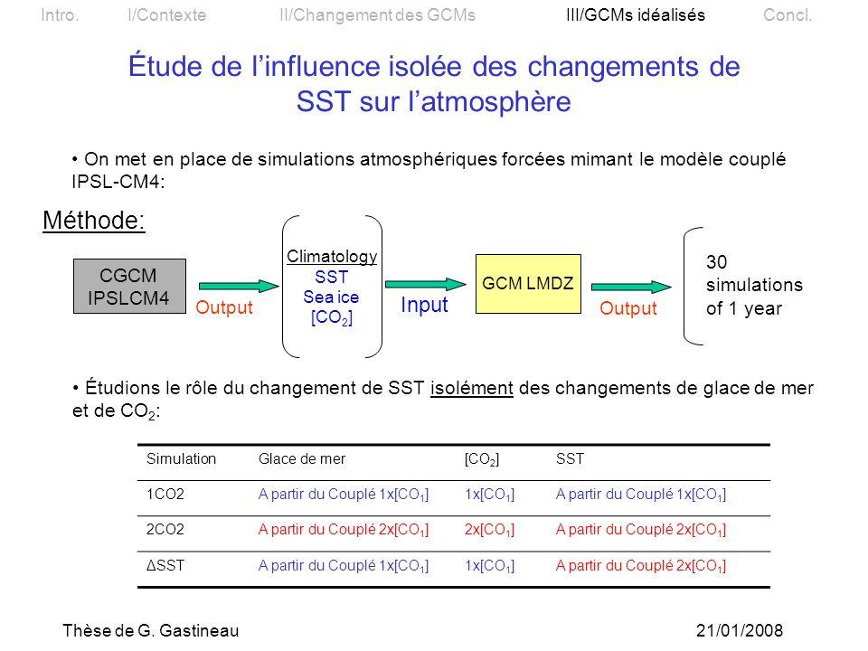 Étude de l'influence isolée des changements de SST sur l'atmosphère