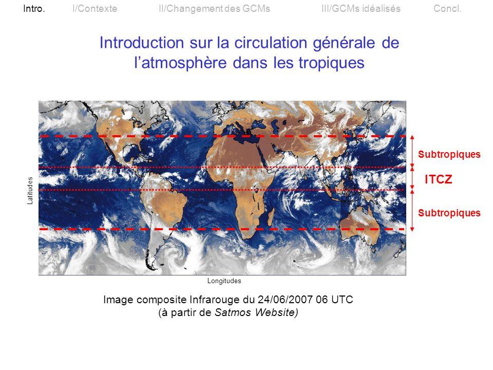 Introduction sur la circulation générale de l'atmosphère dans les tropiques