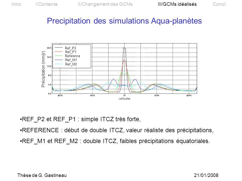 Precipitation des simulations Aqua-planètes