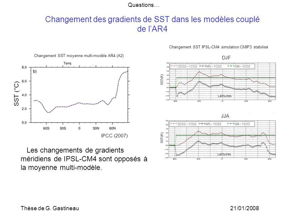 Changement des gradients de SST dans les modèles couplé de l'AR4