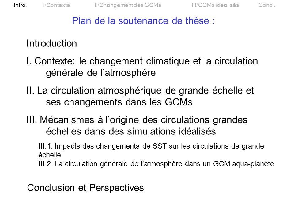 Plan de la soutenance de thèse :