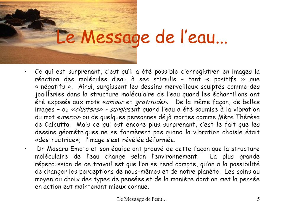 Le Message de l'eau...