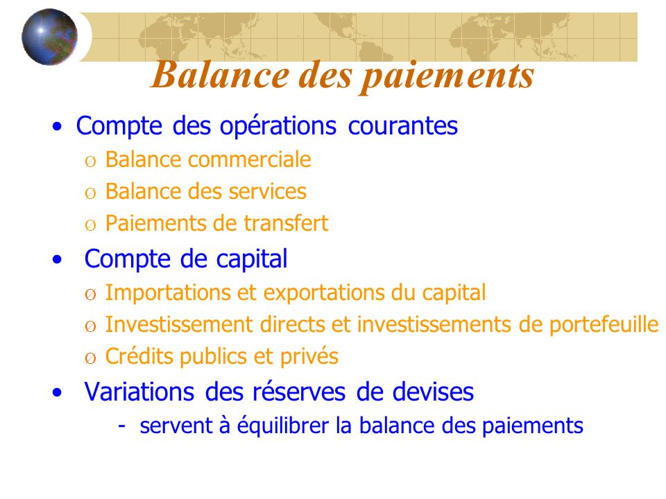 Balance des paiements Compte des opérations courantes