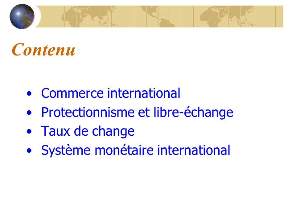 Contenu Commerce international Protectionnisme et libre-échange