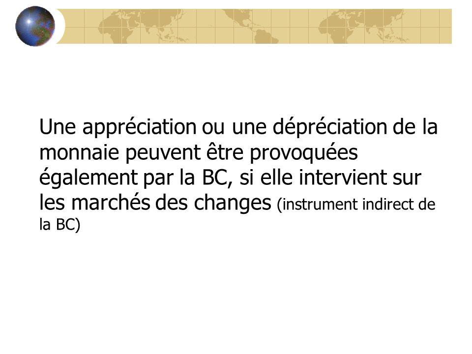 Une appréciation ou une dépréciation de la monnaie peuvent être provoquées également par la BC, si elle intervient sur les marchés des changes (instrument indirect de la BC)