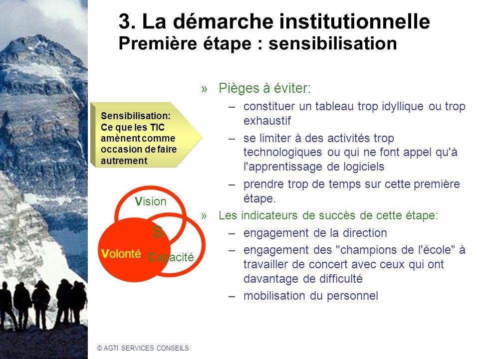 3. La démarche institutionnelle Première étape : sensibilisation