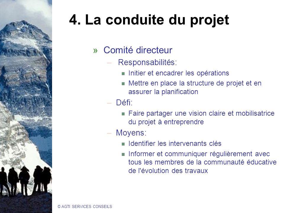 4. La conduite du projet Comité directeur Responsabilités: Défi: