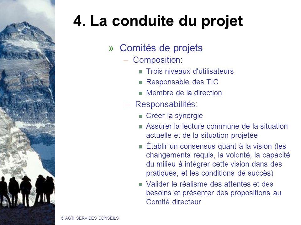 4. La conduite du projet Comités de projets Composition: