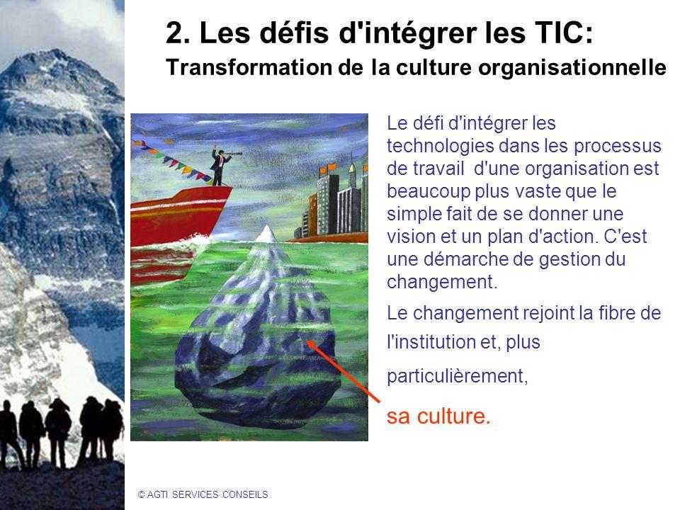 2. Les défis d intégrer les TIC: Transformation de la culture organisationnelle