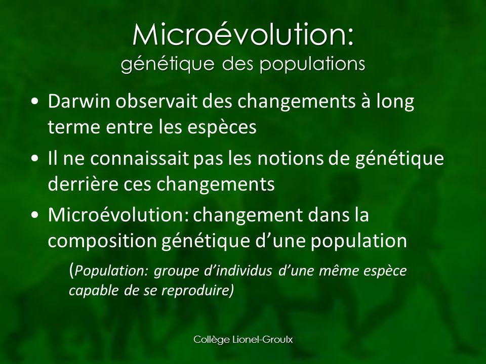 Microévolution: génétique des populations
