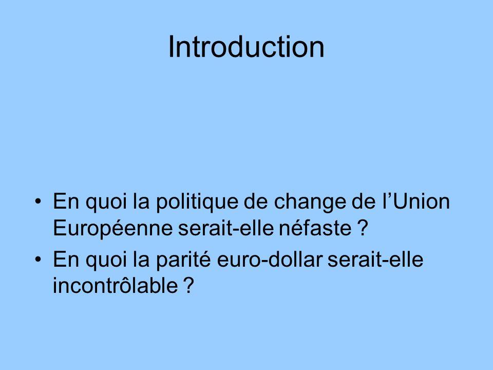 Introduction En quoi la politique de change de l'Union Européenne serait-elle néfaste .