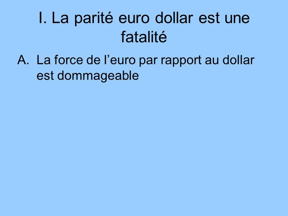 I. La parité euro dollar est une fatalité