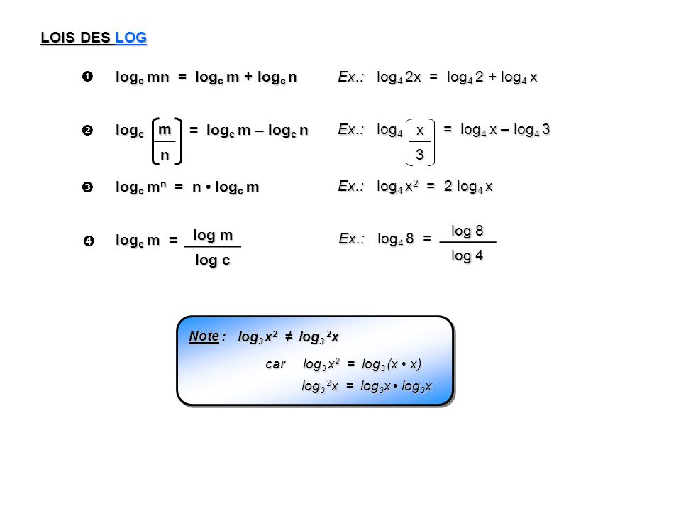 LOIS DES LOG  logc mn = logc m + logc n