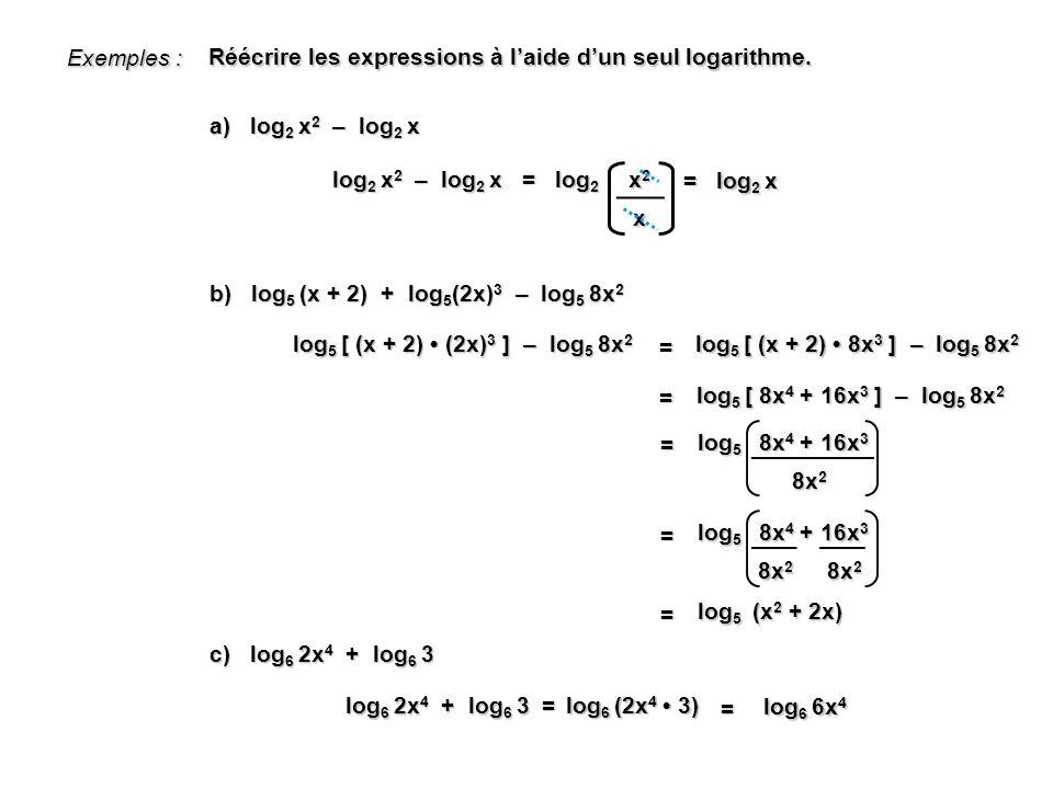 Exemples : Réécrire les expressions à l'aide d'un seul logarithme. a) log2 x2 – log2 x. x2. x.