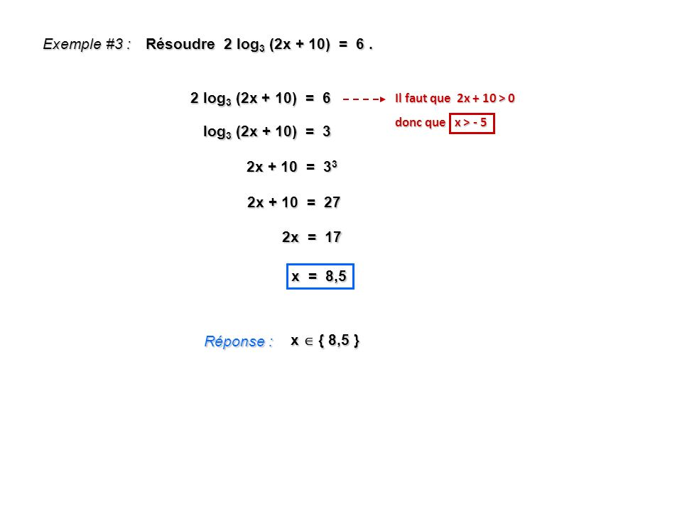 Exemple #3 : Résoudre 2 log3 (2x + 10) = 6 . 2 log3 (2x + 10) = 6