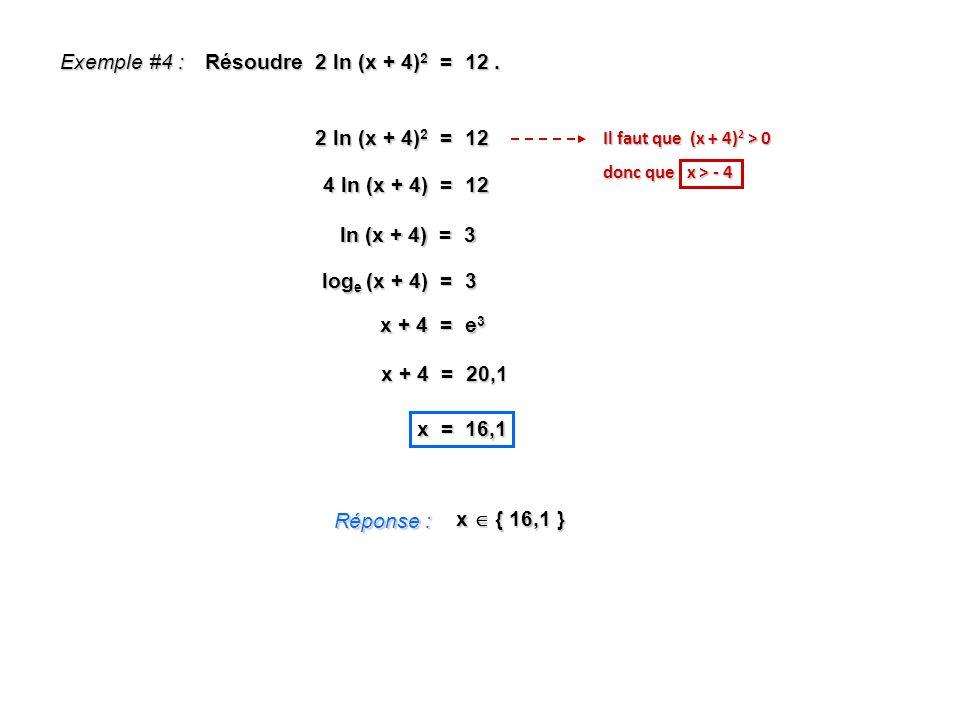 Exemple #4 : Résoudre 2 ln (x + 4)2 = 12 . 2 ln (x + 4)2 = 12