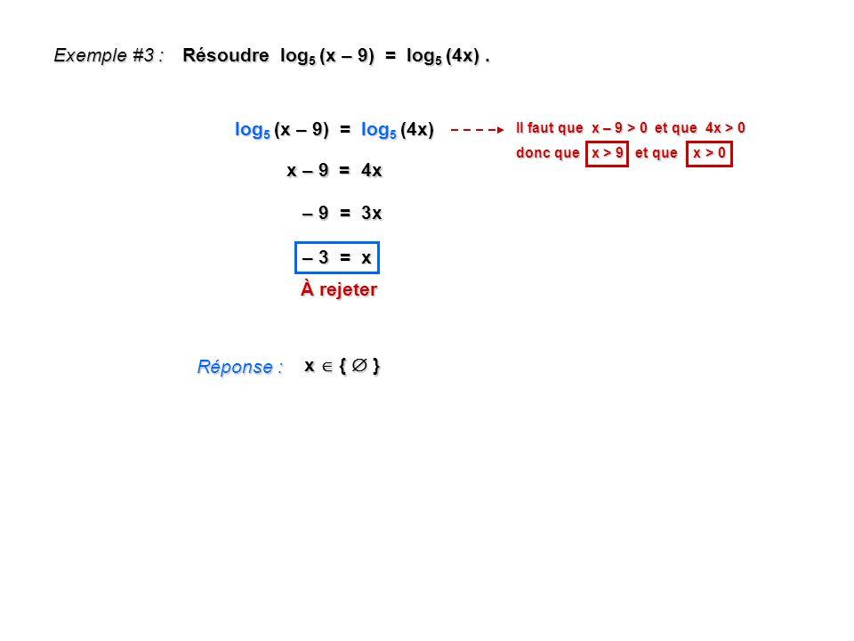 Résoudre log5 (x – 9) = log5 (4x) .