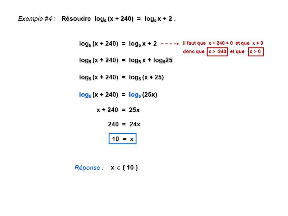 Résoudre log5 (x + 240) = log5 x + 2 .