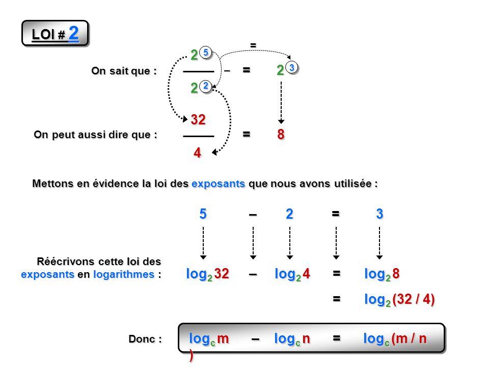 logc m – logc n = logc (m / n )