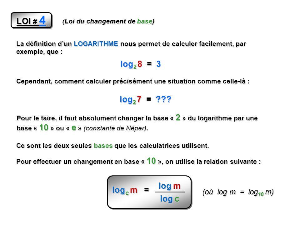 LOI # 4 log2 8 = 3 log m log2 7 = log c logc m =