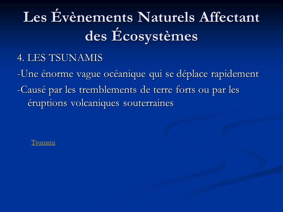 Les Évènements Naturels Affectant des Écosystèmes