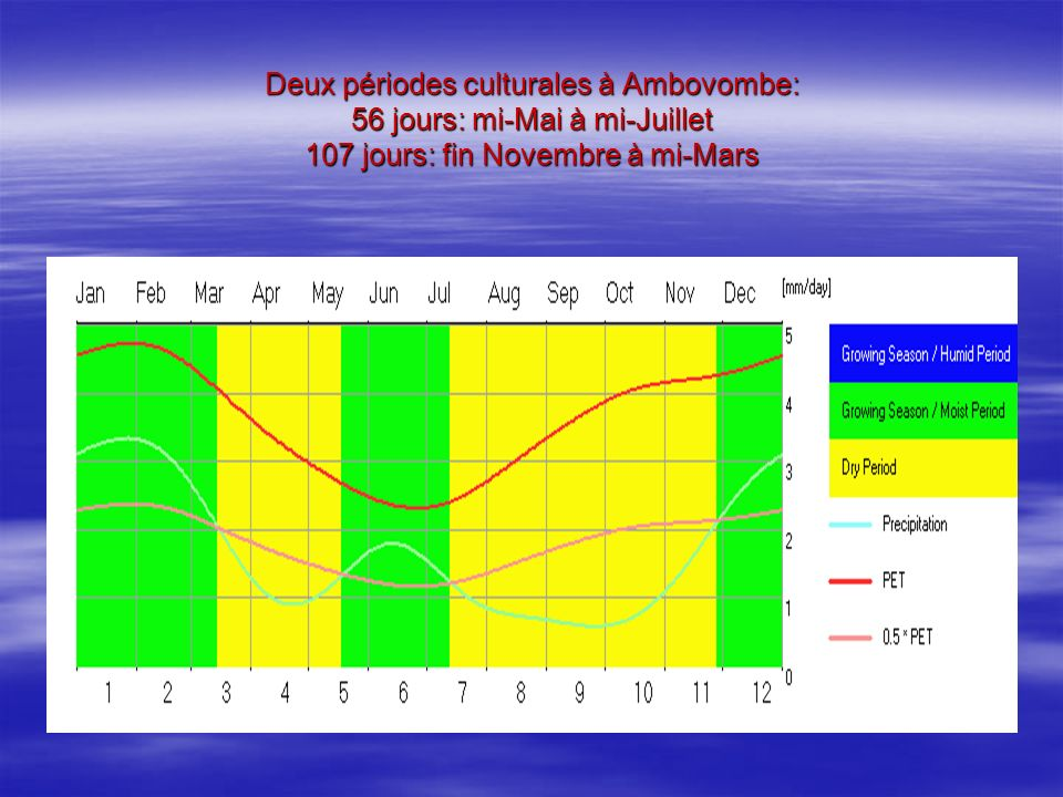 Deux périodes culturales à Ambovombe: 56 jours: mi-Mai à mi-Juillet 107 jours: fin Novembre à mi-Mars