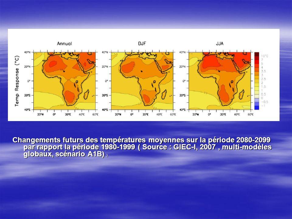 Changements futurs des températures moyennes sur la période 2080-2099 par rapport la période 1980-1999 ( Source : GIEC-I, 2007 , multi-modèles globaux, scénario A1B) )