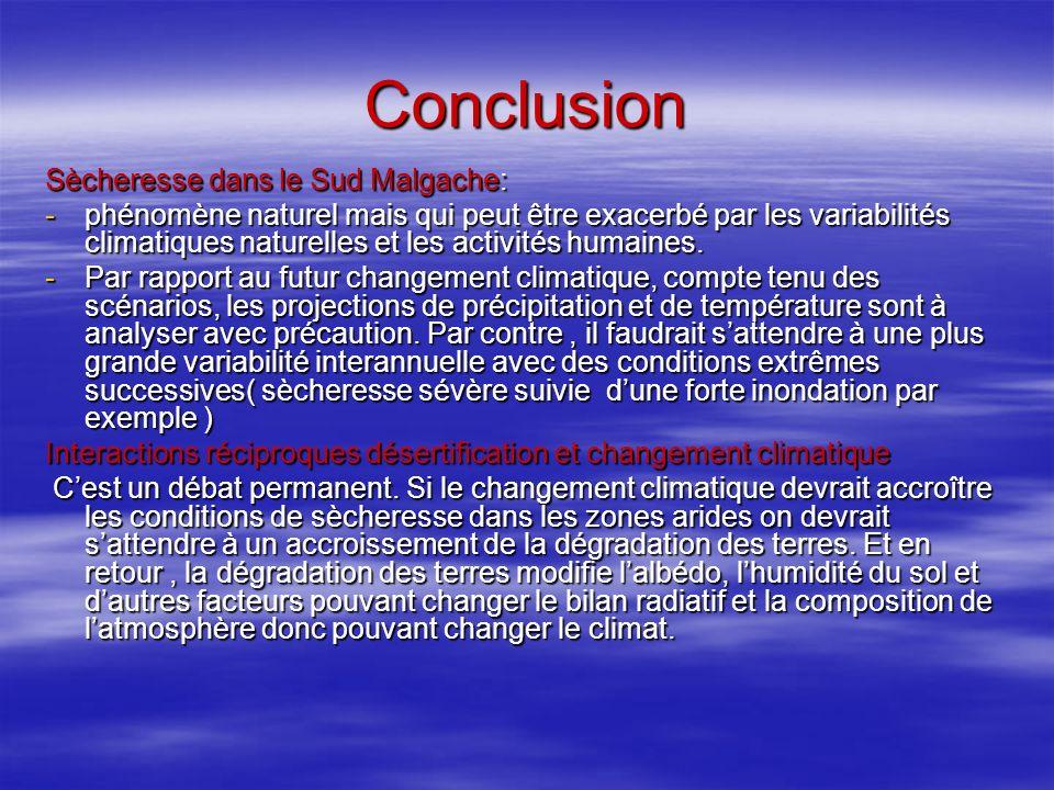 Conclusion Sècheresse dans le Sud Malgache: