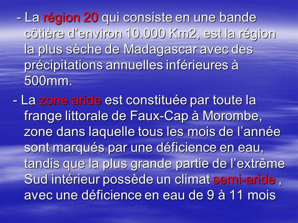 - La région 20 qui consiste en une bande côtière d'environ 10