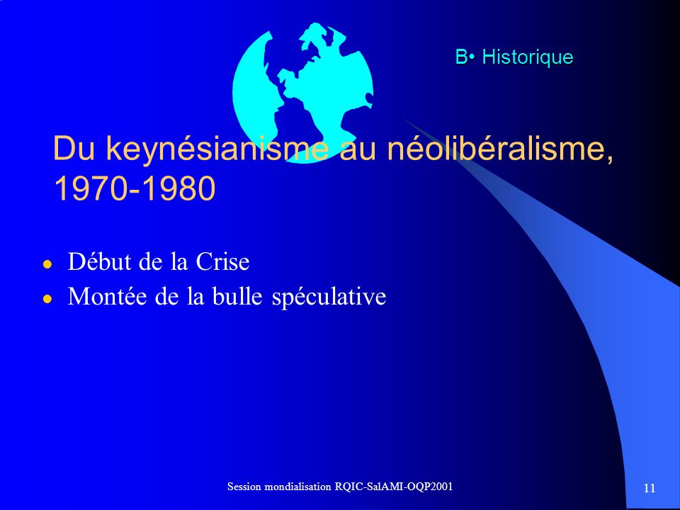 Du keynésianisme au néolibéralisme, 1970-1980