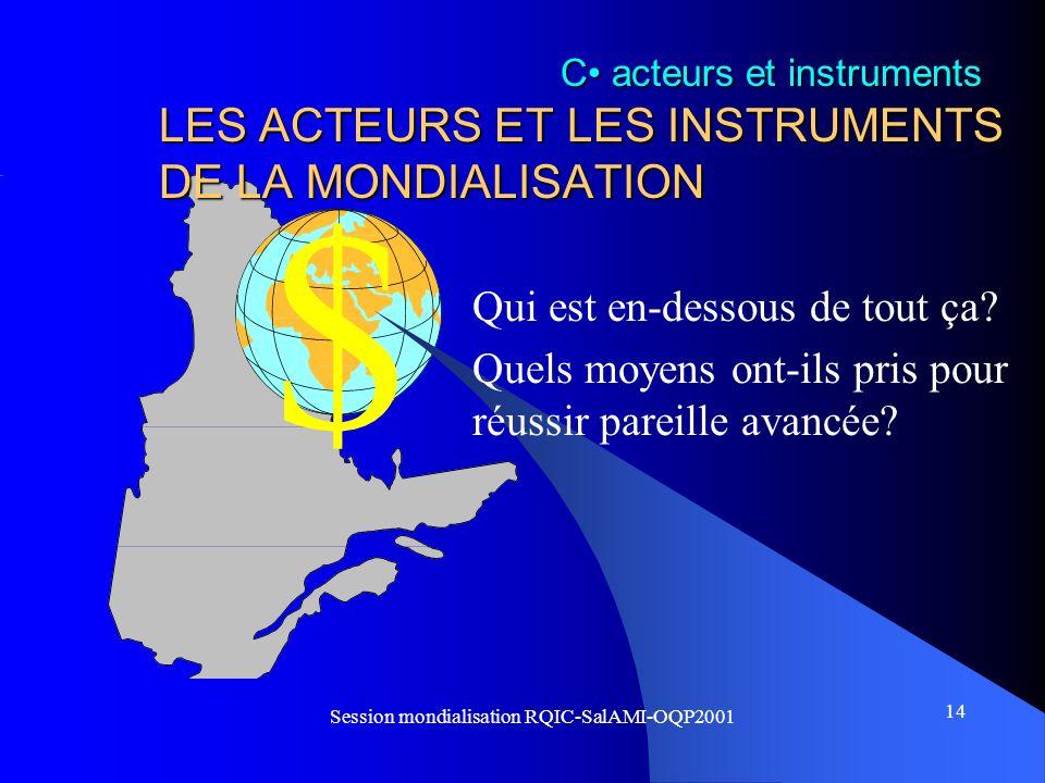 LES ACTEURS ET LES INSTRUMENTS DE LA MONDIALISATION
