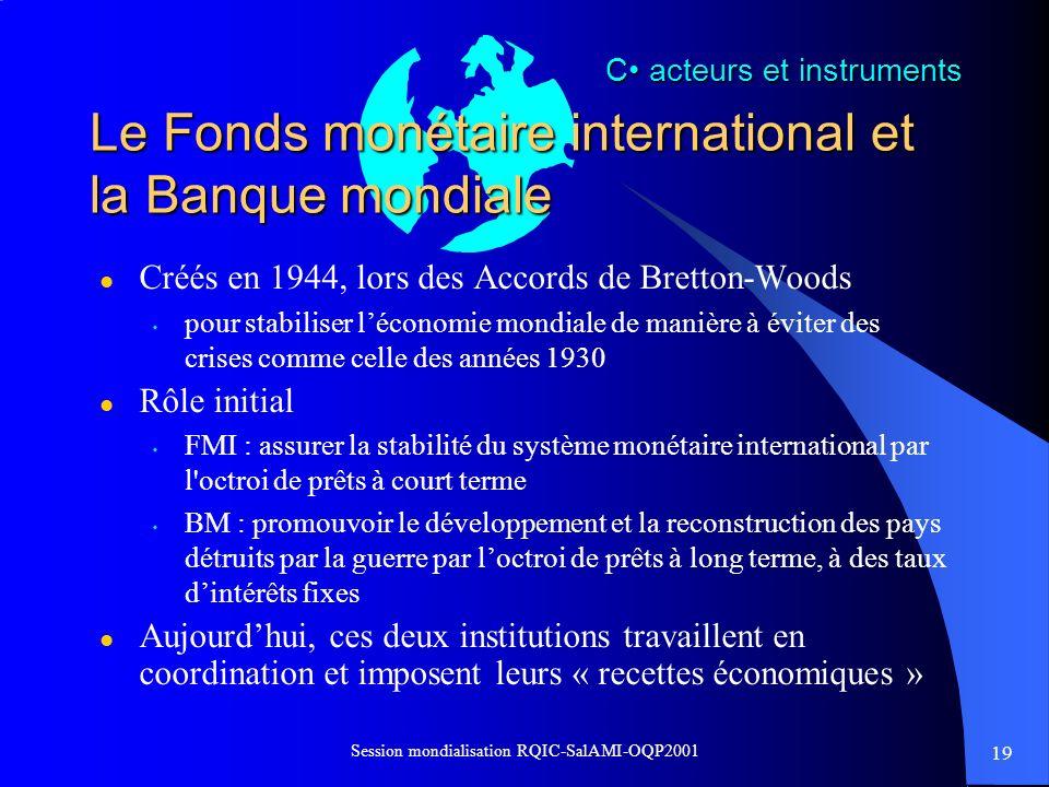 Le Fonds monétaire international et la Banque mondiale