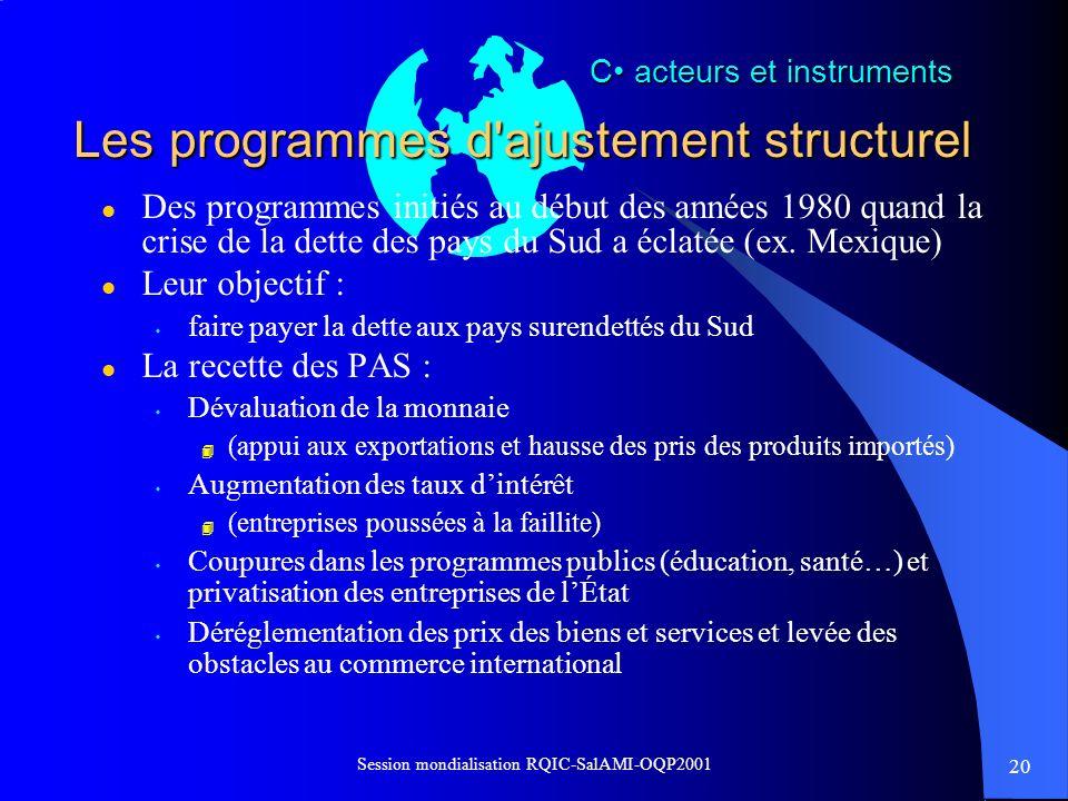 Les programmes d ajustement structurel