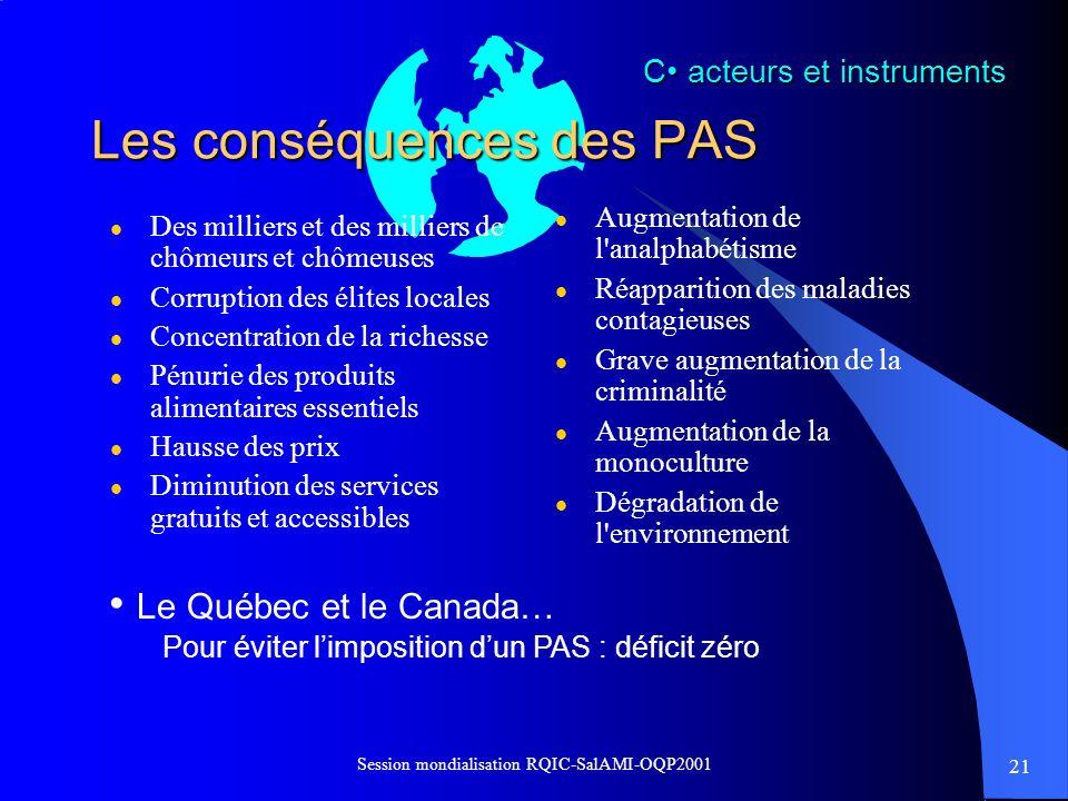 Les conséquences des PAS