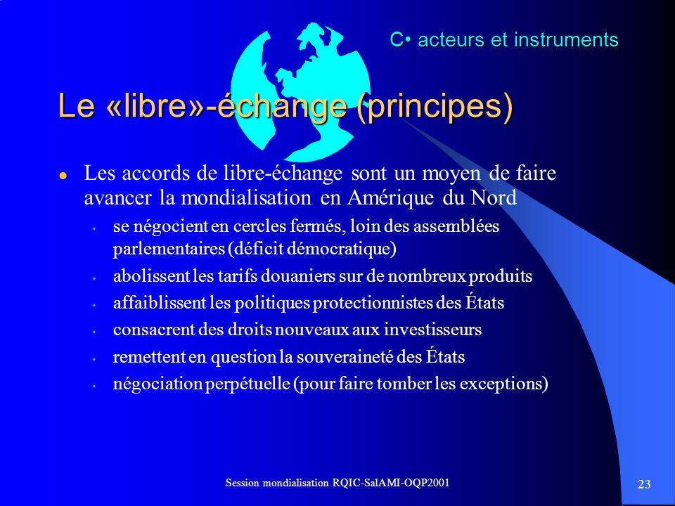 Le «libre»-échange (principes)